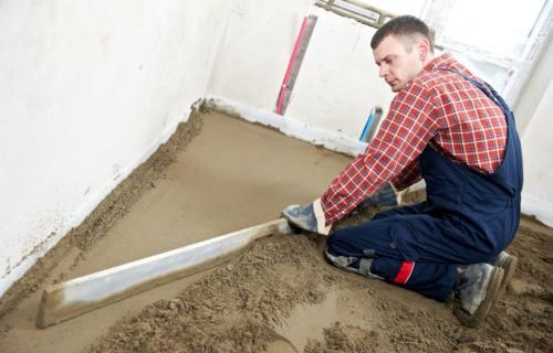 13425902 - plasterer concrete worker at floor work